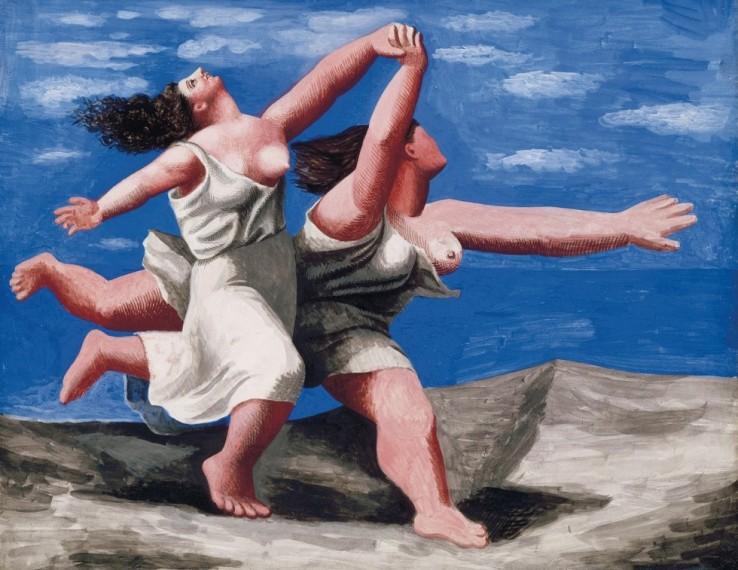 due donne corrono sulla spiaggia 1922 -